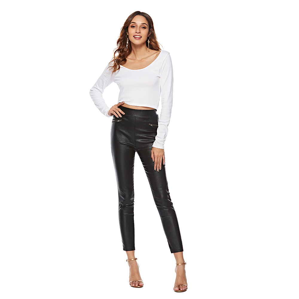 Women/'s Stretchy Synthetic Faux Leather Mid Waist Skinny Leggings Pants Stretch