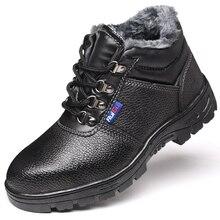Winter Men's Cotton Shoes Safety Shoes Plus Velvet Warm Labor Insurance Shoes High-density Rubber Soles Wear High-top Shoes