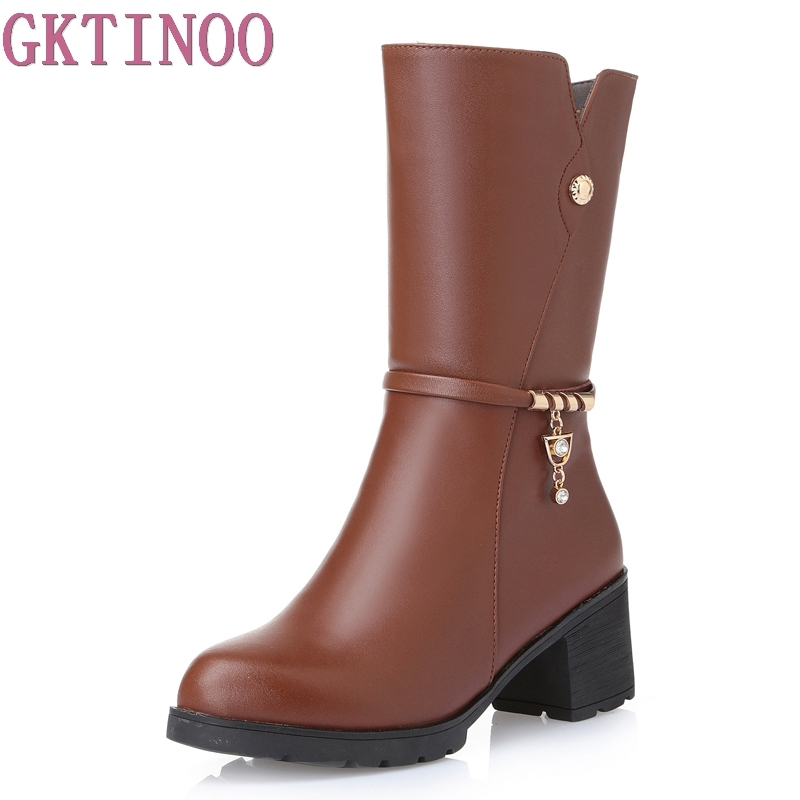 2017 Women Boots Winter Shoes Round toe Fashion Knee-high Boots Soft Leather All-match Med-heel Black Brown Ladies Shoes