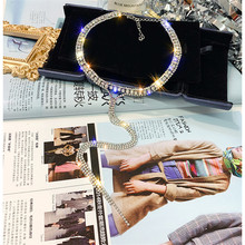 FYUAN Colorful Full Rhinestone Choker Necklaces for Women Bijoux Long Tassel Crystal Pendant Necklaces Statement Jewelry