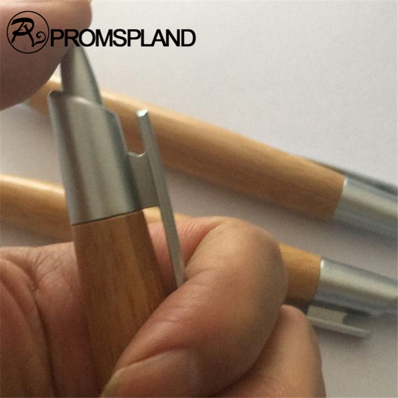 PROMSPLAND Wood Pen Ballpoint Pens With Silver Clip Office & School Supplies Pens Pencils & Writing Supplies Gifts 14cm