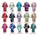 2016 womens Sólidos royan Robe de seda Feminina Cetim Pijama pjs Sleepwear Lingerie Kimono Bath Vestido Camisola 17 cores #3699