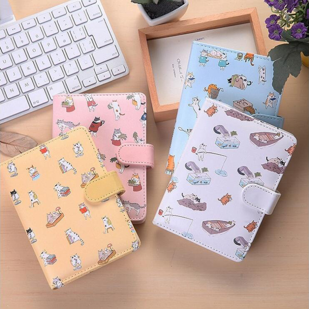 Cartoon Cute Cat Leather Cover Planner Lined Blank Colored Inner Pages' Notebook Office School Schedule Stationery Organizer