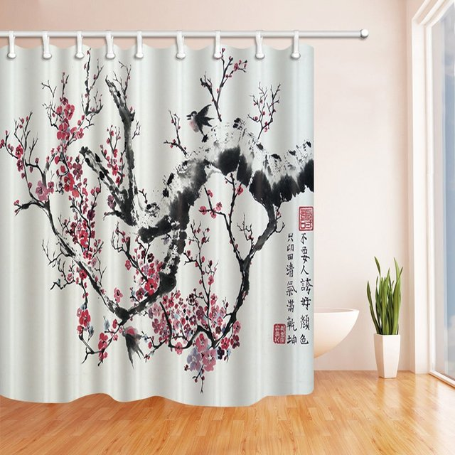 Incroyable Watercolor Flowers Shower Curtains For Bathroom, Red Plum And Black  Branches Against Gray Backdrop