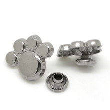 50Sets Punk Paw Rivets Spike Studs Spots For Clothes Bag Shoes Crafts Silver Tone 17x13mm( 5/8x 4/8) 7mm