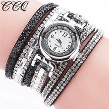 CCQ Trend Girls Bracelet Watch Informal Leather-based Quartz Watch Luxurious Crystal Clock Watch Relogio Feminino 2141