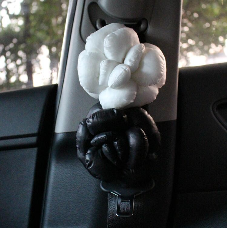 New-2pcs-Camellia-Flower-Car-Safety-Seat-Belt-Covers-Women-Leather-Shoulder-Pads-Black-White-l1