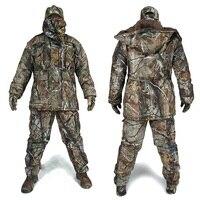 Для мужчин зимние Bionic Камуфляж Охота костюмы Человек Открытый джунглей лес Одежда для охоты зима теплая Камо ветровка шляпа перчатки