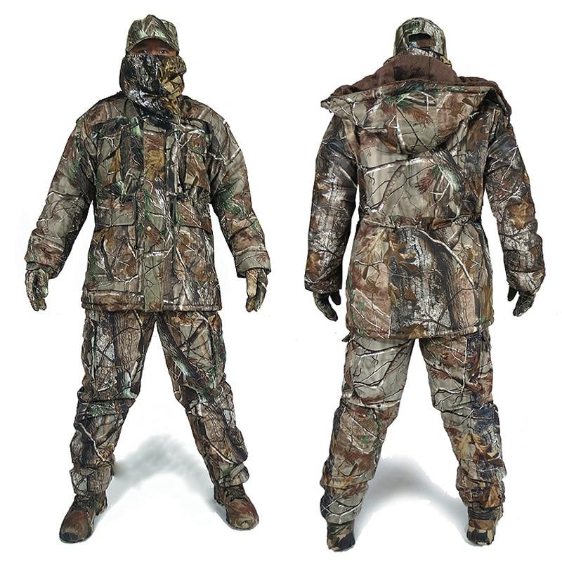Hommes D'hiver de Bionic Camouflage Chasse Costumes Homme En Plein Air Jungle Forêt Chasse Vêtements D'hiver Chaud Camo Coupe-Vent Chapeau Gants