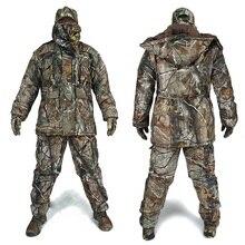 Мужские зимние Bionic камуфляжные охотничьи костюмы мужские уличные джунгли лесные охотничьи костюмы Зимние теплые камуфляжные шапка с защитой от ветра перчатки