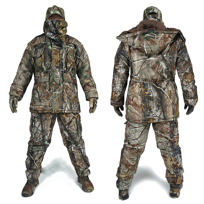 Men's Winter Bionic Camouflage Hunting Suits Man Outdoor Jungle Forest Hunting Clothing Winter Warm Camo Windbreaker Hat Gloves
