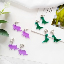 Japanese Cartoon Animal Acrylic Clip Earrings Minimalistic Dinosaur Ear Stud Girl Women Personality Creative Jewelry Accessories