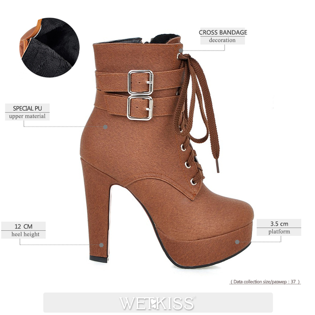 WETKISS Super Big Size 32-48 Thick High Heels Shoes Buckle Strap Lace Up Short Boots Women Booties Platform Autumn Winter Boots 2