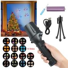 LED Projector Flashlight Christmas Projector Lights 14 Slide