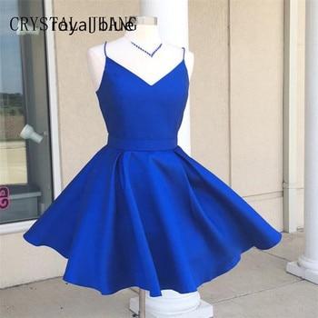 e6aacb6a5 Azul real vestidos de fiesta Sexy V cuello espaguetis correas Mini vestidos  cortos 8 grado vestidos de graduación 2018