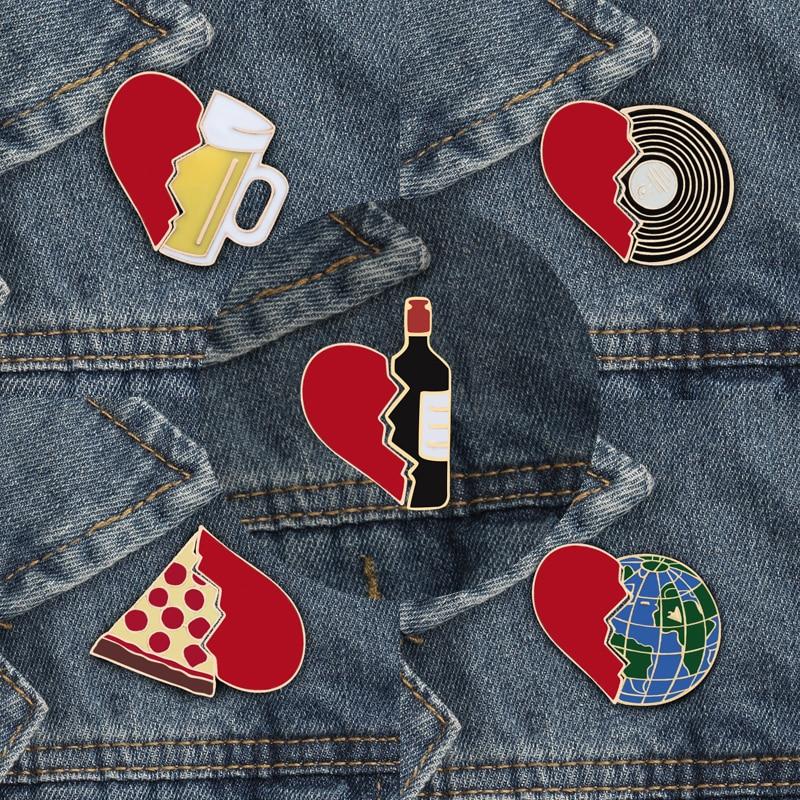 Emalje pin sæt brudt hjerte flaske vin jorden CD pizza øl Creative broche og pins Kostumer tilbehør tegneserie smykker ikon ...