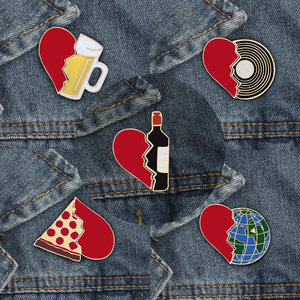 Enamel Pin set Broken Heart Wine Bottle Earth CD Pizza Beer Creative Brooch and Pins Clothing Accessories Cartoon Badge Jewelry