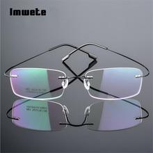 e06108e079699 Imwete Armações de Óculos Sem Aro de Titânio Flexível Frame Ótico  Prescrição Espetáculo ...
