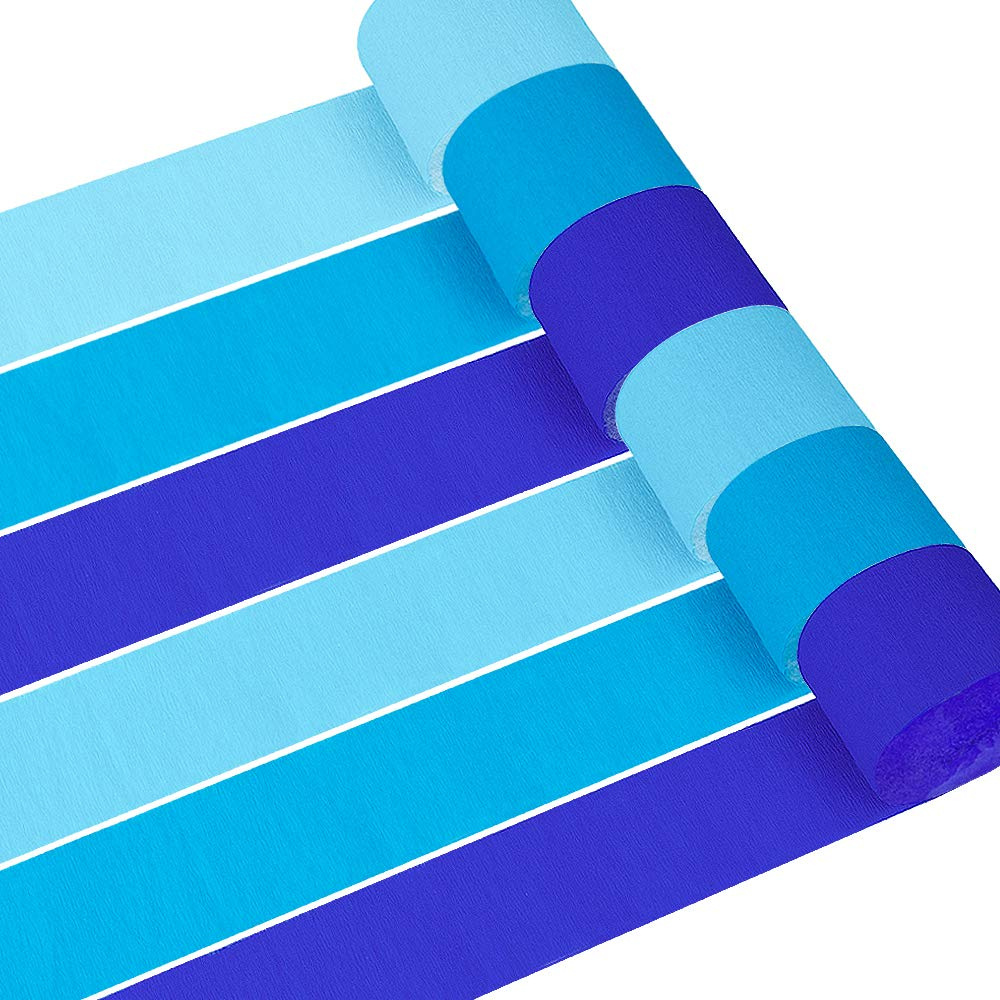 metaabl 12 Rolls 82ft Baby Blue Crepe Paper Streamers, for Birthday Party, Class Family Gathering, Thanksgiving,Christmas