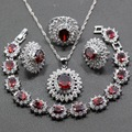 Four Piece 925 Sterling Silver Women Wedding Jewelry Sets Red Garnet  Ring Size 6/7/8/9/10 Bracelet Length 18CM  JS20