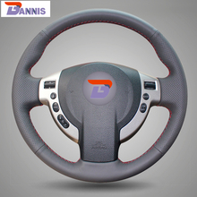 BANNIS Black Artificial Leather DIY Hand-stitched Steering Wheel Cover for Nissan QASHQAI X-Trail NV200 Rogue