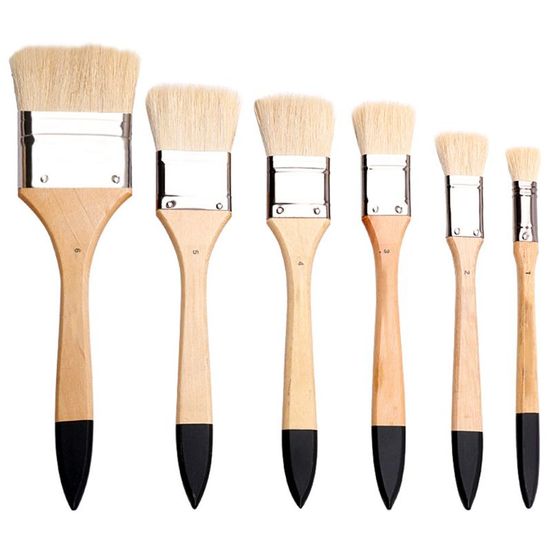 OOTDTY High Quality Birch Wool Brush Watercolor Pen Gouache Oil Painting Acrylic Brush Board Wall Painting Brush
