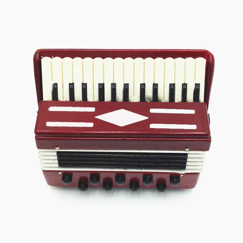 New 1:12 Dollhouse Wooden Accordion Miniature Learning Education Collection Musical Instrument Accessory Creative Gift Kids Toy