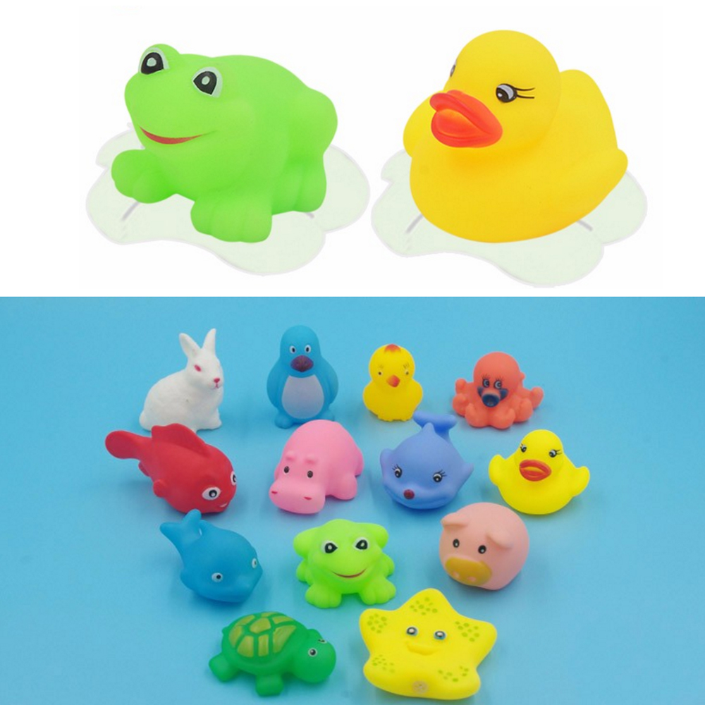 13 Pcs Baby Bath Toys Random Color Animal Kids Bathroom Water Play Toy Squeeze Float Sounding Baby Shower Swimming Pool Toys