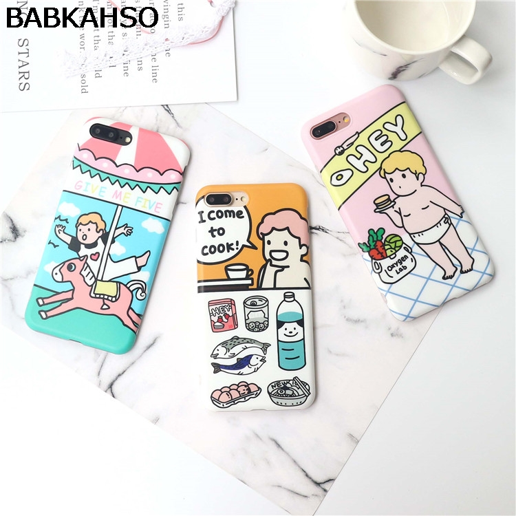 BABKAHSO Korean cute cartoon little boy riding carrousel Case For iPhone 7 7Plus Case For iPhone 6 6S Plus 6Plus Capa Coque soft
