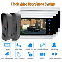 2017 new Video Door Intercom Doorbell System Home Security Camera Monitor with ip65 Rainproof 7 TFT display 1200TVL 2 V 4