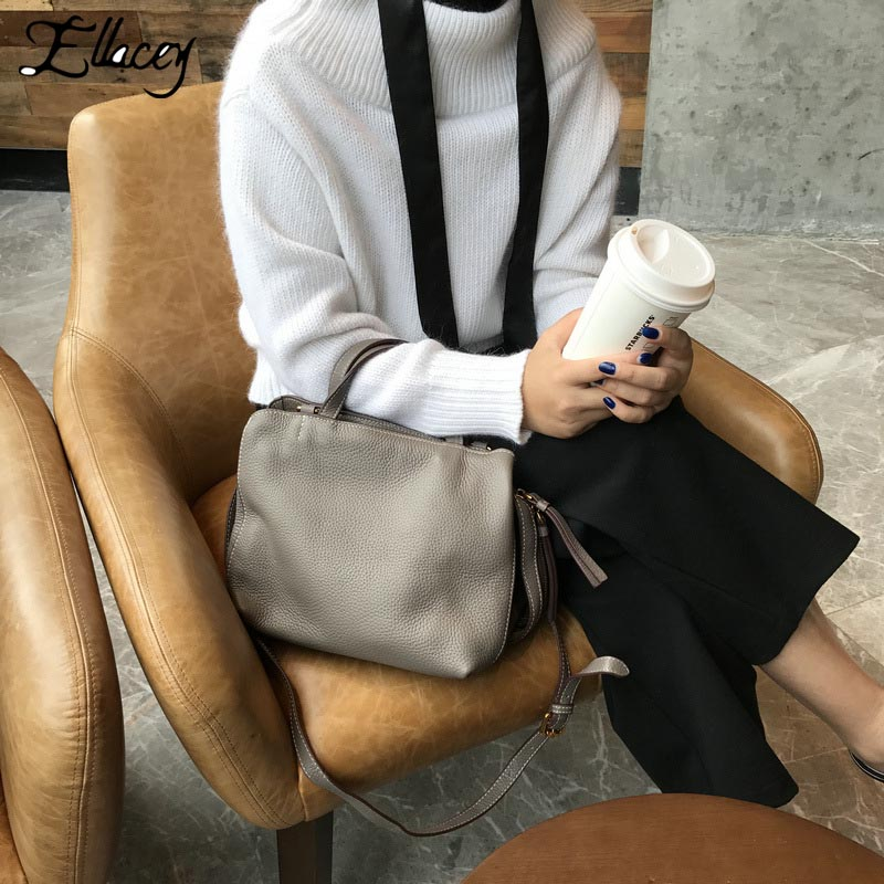 2018 New Fashion Genuine Leather Shoulder Bag Famous Design Brand Bags Ladies Totes High Quality Vintage Cow Leather Handbags qiaobao 100% genuine leather handbags new network of red explosion ladle ladies bag fashion trend ladies bag