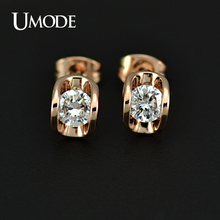 UMODE  Rose Gold Plated Top Grade AAA Cubic Zirconia  Stone Stud Earrings For Women Famous Brand Jewelry AJE0218