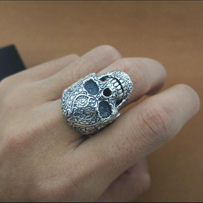 100% 925 argent coeur fleur crâne anneau réel en argent Sterling squelette anneau PUNK bijoux homme anneau COOL