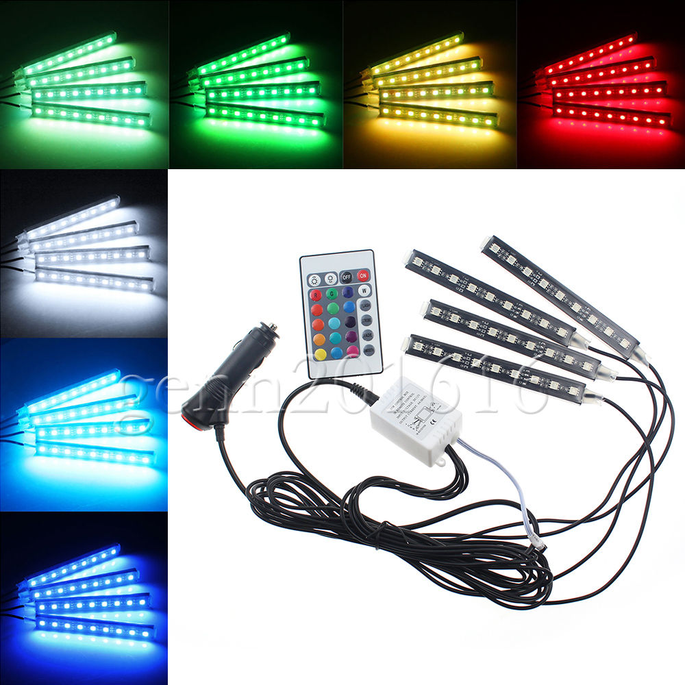 4x dc12v 9 smd 10w 4pcs 5050 car auto led rgb interior floor decorative atmosphere strip pathway