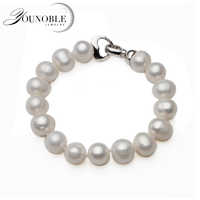 100% настоящий натуральный браслет с круглыми жемчужинами Femme, модный белый браслет из пресноводного жемчуга, подарок на день рождения для де...