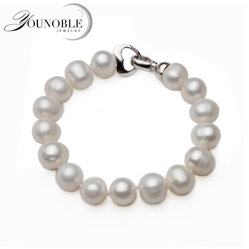100% Real Natural Near Round Pearl Bracelet Femme,Fashion White Freshwater Girl Birthday Gift