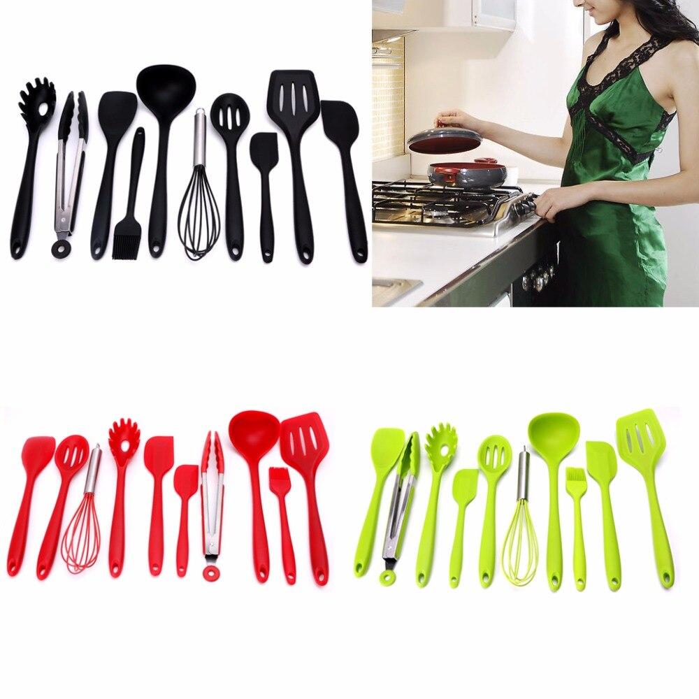 10 Teile/satz Grüne Wärme Resitant antihaft Silikon Küchenutensilien ...