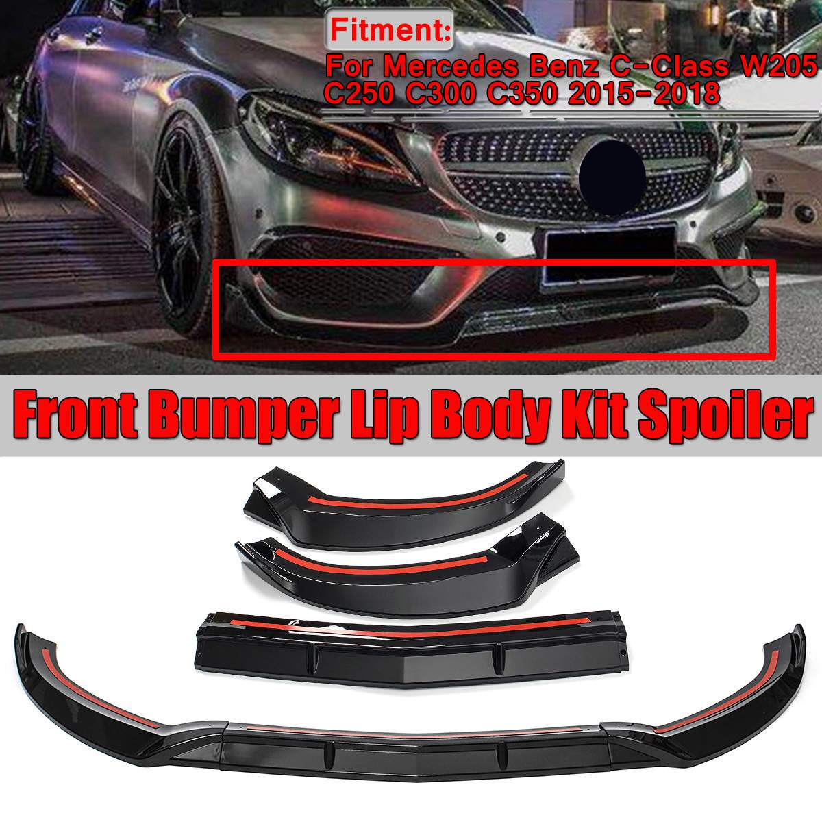 New 3Pcs Car Front Lip Chin Bumper Lip Spoiler Splitters Body Kit For <font><b>Mercedes</b></font> For Benz C-Class W205 C250 <font><b>C300</b></font> C350 2015-2018 image