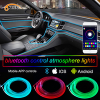 OKEEN APP 6M Car decor 12V lighter LED Lamp Strip thread sticker decals tags accessory Flexible Neon Light EL Wire Rope Tube
