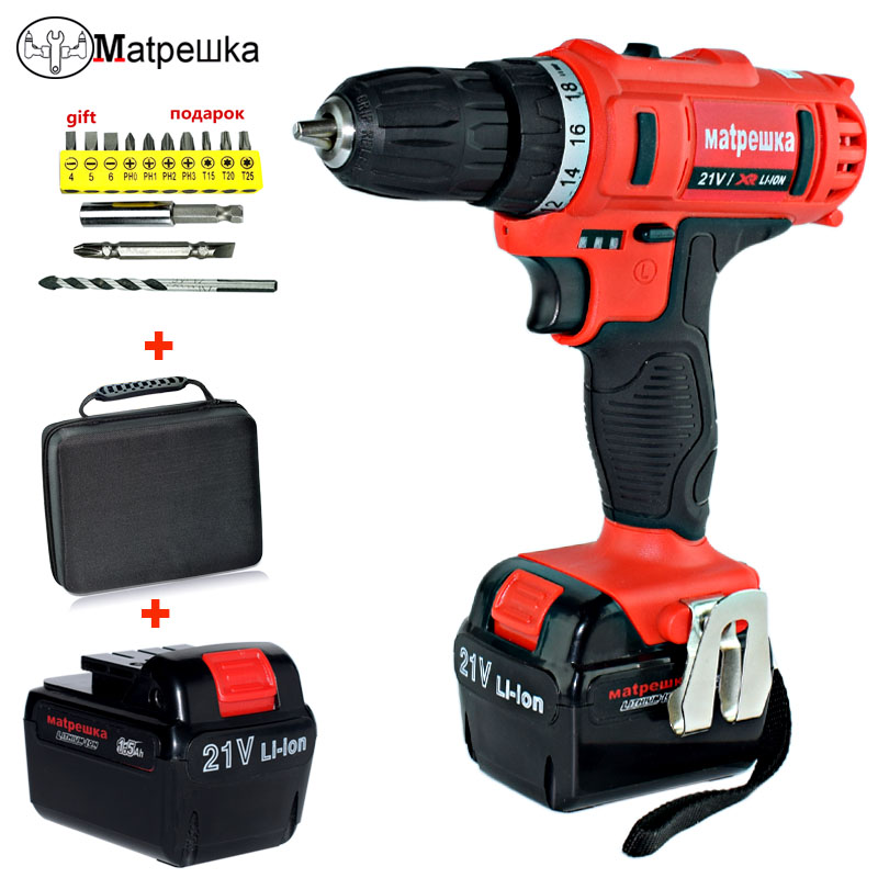 21V Mini Electric Screwdriver  Power Tools Electric Drill Electric Cordless Drill 2 Batteries Screwdriver +Professional Toolbox wowstick 1fs pro precision mini cordless electric screwdriver with 2 batteries for iphone mobile phone camera repair tools hw