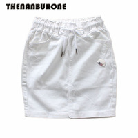 THENANBURONE White Lace Up Jean Mini Skirt Hot Women Sexy Lace Stretch Office High Waist Pencil
