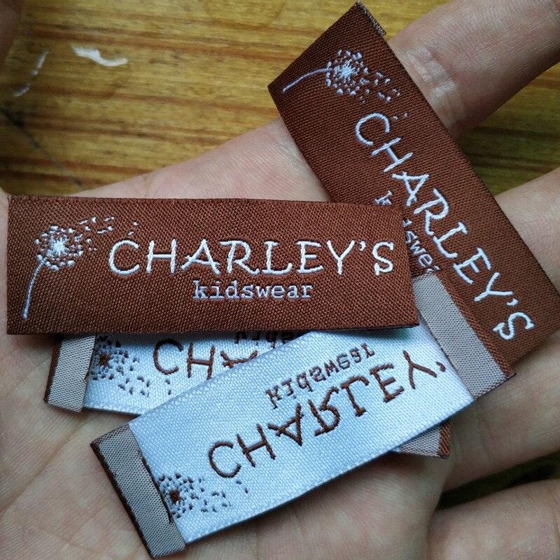 1000PCS 6 2 cm Custom brown damask polyester cloth woven label End fold