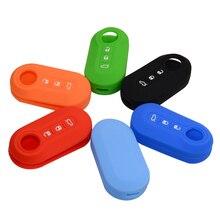 Silicone Car key cover Case For Fiat 500 grande punto stilo 500x panda ducato 3 Buttons remote auto folding Flip Key Blanks case