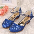 Children girl's Snow queen Elsa girl princess Crystal Rhinestone shoes single  fashion dance Leather shoes 28-38 353-23