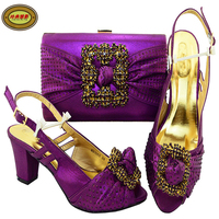 MM1055 Purple Upscale Shoes And Bags Set African Wedding Woman Pumps Matching Bag Set Factory Price