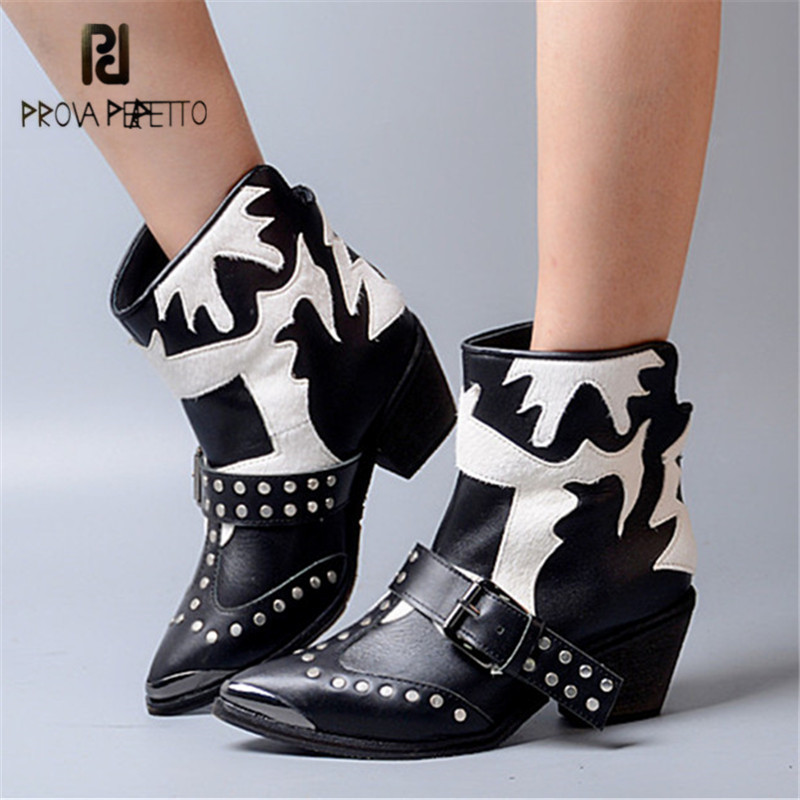 Prova Perfetto Patchwork Ankle Boots for Women Metal Pointed Toe High Heel Booties Genuine Leather Horsehair Female Rivet Botas new pointed toe patchwork tassel boots walkway street snap party botas black slip on ankle high booties women casual botas mujer