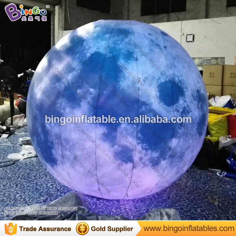 2M diameters LED lighting inflatable moon promotional hanging type color change blow up ball type moon model light-up toys