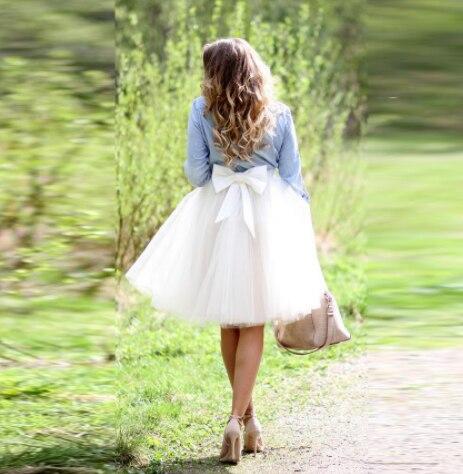Vintage 5 Layers Tulle Tutu Skirt High Waist Knee Length Midi Skirts for Women Big Bow Saias Jupe Custom Made Any Colors Sizes