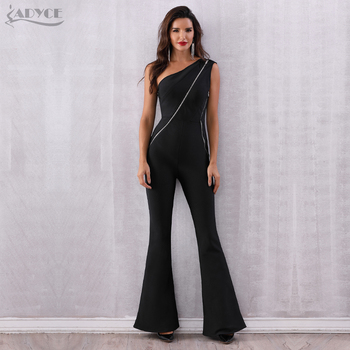 One Shoulder Bandage Long Jumpsuits For Women 2018 Summer Zipper Celebrity Evening Party Jumpsuit Runway Romper