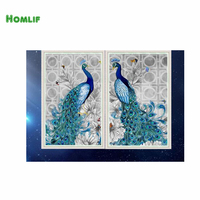 HOMLIF 5D diamante bordado diamante mosaico diy diamante needlework pintura da lona Decoração da Casa Dois Pavões